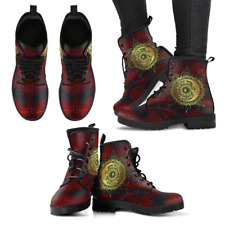 Sun and Moon Red Black Handcrafted Women's Booties Vegan-Friendly Leather Boots