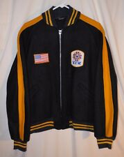 Vtg Wool Letterman Jacket Baseball Stadium Varsity V.F.W. Patch Zip Up XL