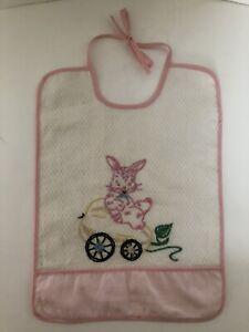 Mid Century Baby Bib Hand Stitched Birthday Party Hat Squirrel Bib 1st Birthday 1950s Vintage Hand Made Embroidered Chipmunk Baby Bid