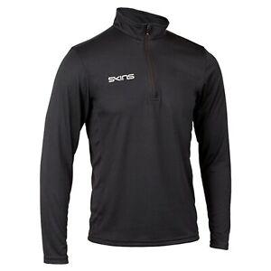 Skins 1/4 Zip Long Sleeve Tech Top - Mens - Black - Gym Rugby Clothing. Zip up