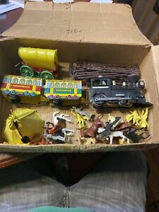 vintatge rare wild west battery powered train set by Marks 1960's