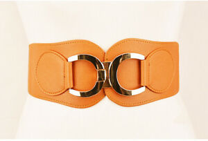 Womens X Waistband Belt Wide Faux Leather Fashion Elastic Stretch Corset Cinch