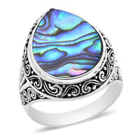 BALI LEGACY 925 Sterling Silver Abalone Shell Solitaire Ring Gift Jewelry Size 9
