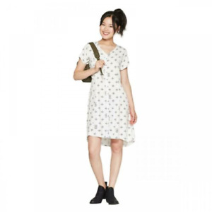 Junkfood Women's  Camp Funtime Printed Button Down Short Sleeve Dress White L
