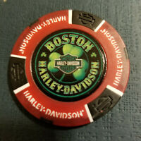 BOSTON HD~ MASACHUSETTS ~ (Full Color Red/Black) Harley Davidson Poker Chip