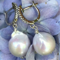 13-14mm huge white Baroque pearl earrings 18k silver hook Cultured fashion AAAA