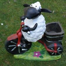 Schaf Molly auf Fahrrad,zum Bepflanzen, Tierfigur Deko Garten Terrasse