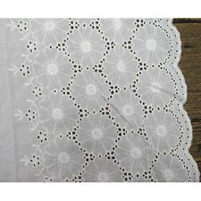 Scallop Eyelet Floral Patterned Cotton Embroidered Lace Trims Fabric by 14 Yards