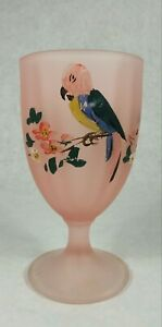 """TIFFIN PINK SATIN GLASS GOBLET HAND PAINTED PARROT 6 3/4"""" TALL Pre-Owned"""