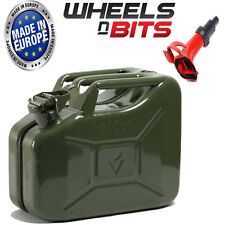 10L Litre GREEN JERRY MILITARY CAN FUEL PETROL DIESEL RED BLUE GREEN WITH SPOUT
