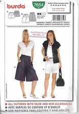 Burda Pattern 7654 Shorts Culottes Pleated 8 10 12 14 16 18 20