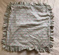 Laura Ashley Vintage Pillowcase Ruffle Sham Floral Pink Roses Sage Stripes