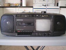 Vintage Emerson TB 0540 AM /FM stereo radio cassette boombox, built-in TV