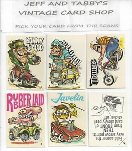 1973 Donruss FABULOUS Odd Rods Sticker Cards YOU PICK FROM SCANS