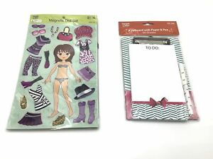 Magnetic Dress-up Play Doll Set 3 Packs plus Clipboard with Paper and Pen New