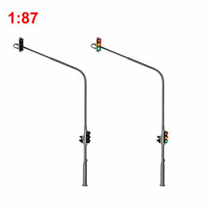 2pcs HO Scale 1:87 Traffic Signals 8-LEDs City Motorway Crossing Right Lights