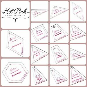 Sew Easy Mini Patchwork Quilting Templates 14 Shapes / Square, Hexagon, Diamond