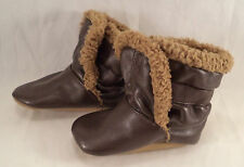 Old Navy Size NB - 6mo Boots Shoes Slip-On Unisex Brown Faux Leather Medium