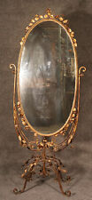 Rare Gilded Wrought Iron Tole Double Sided Wedding Shop Cheval Mirror C1920s
