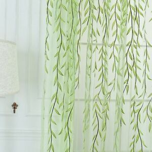 4 Willow Twigs Leaf Pattern Room Voile Window Sheer Drapes Tulle Curtain UK