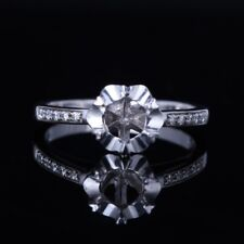 10K White Gold Wedding Natural Diamonds Semi Mount Round 5.5mm Engagement Ring