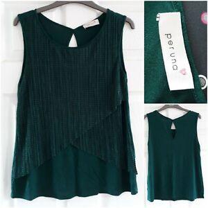 Per Una M&S Jade Dark Green Sleeveless Top Size 8 Layered Smart Work Casual