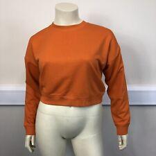 New Look Ladies Orange Crew Neck Long Sleeve Short Cropped Sweatshirt UK Size 14