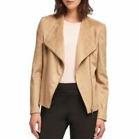 DKNY NEW Women's Camel Faux Suede Collarless Motorcycle Jacket Top M TEDO