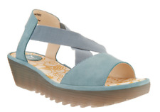2*38 NEW Fly London Rale Pale Blue Nubuck Leather Wedges Women's Size 37