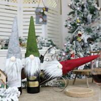 Merry Christmas Wine Bottle Cover Bag Santa Faceless Doll Claus Xmas Party Decor