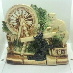 "Vintage McCoy ""RARE"" Spinning Wheel Planter with Black Scotty Dog & Cat"