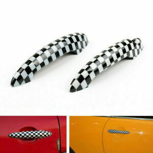 Checkered Pattern Design Door Handle Cover For Mini Cooper R50 R52 R53 R55 R56 A