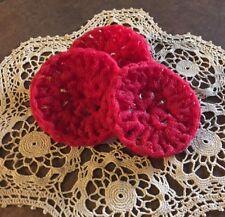Dish Scrubbies pot scrubber nylon set of 3 handmade USA crochet RED kitchen