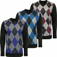 Mens Premium Jumper Argyle Golf Diamond Sweater Pullover V Neck Knitted S-3XL