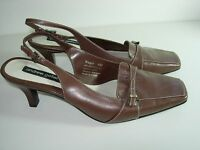 WOMENS BROWN LEATHER SLINGBACK SANDALS CAREER PUMPS HIGH HEELS SHOES SIZE 8 M