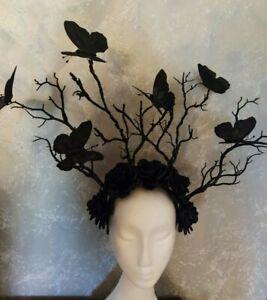 Black flower crown Black butterflies Gothic headpiece Forest crown Halloween
