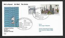 Flugpost-BRD-Lufthansa Erstflug-Stuttgart--Chicago-
