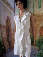 ARELINE Ravissante robe tunique blanche nacrée zippée originale T.40/42.Neuve