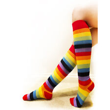 2 Pairs Rainbow Women Girls Socks Multi-color Pride Striped Knee High One Size