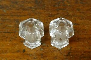 """2 Vintage Antique Clear Glass Drawer Knobs Pulls Six Point - 1 1/8"""" Tall"""