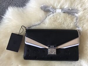 MCM Authentic Millie Small Crossbody Bag Clutch Brand New Chain Black Silver UK
