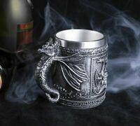 Beer Mug Retro Dragon Resin Stainless Steel Skull Knight Halloween Coffee Cup