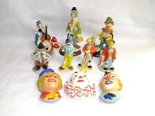 Collection of 10 Clown Figurines in Porcelain, Chalkware, Ceramic