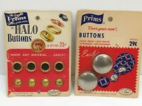 """Prims HALO (1 1/8"""") & COVER YOUR-OWN (9/16"""") BUTTON CARDS Total 6 Buttons Metal"""