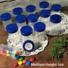 "24 Pill Jars 2+"" tall Screw Blue Cap 1 ounce Favor Size Container #3812 USA New"