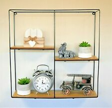 Large Modern Square Floating Wall Shelf Retro Wood Industrial Style Metal Unit