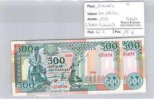 2 BILLETS SOMALIE - 500 SHILIN 1989 - BILLETS CONSECUTIFS - NEUFS ! *