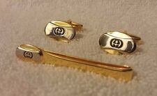 Vintage Gucci Accessory Collection Cufflinks/Tie Bar Set Made in Italy
