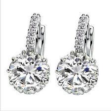 Fashion Woman Multicolor Silver Plated Cubic Zirconia Stud Hoop Earrings Jewelry