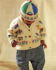 Knitting Pattern - Baby Boys Cute Toy Themed Jacket & Hat Set Ages 1-3 yrs #114